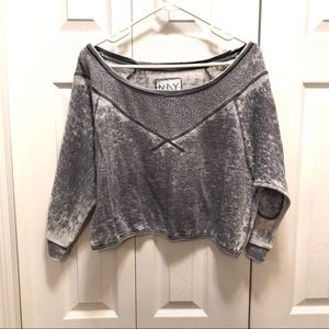 Andrew Marc New York Grey Burn Out Crop Sweater